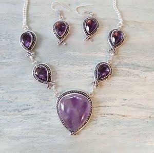 Beautiful purple natural amethyst stamped 925 set
